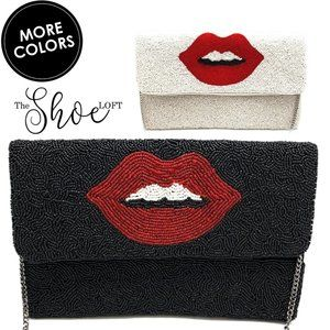 Couture Beaded Clutch - Lips